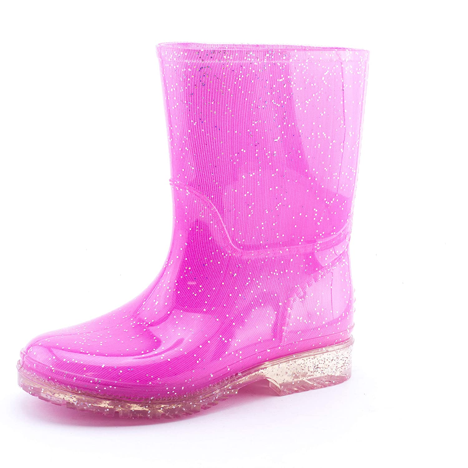Easy Girls Outdoor Glitter Color Waterproof Ankle Rain Boots (Toddler/Little Kid)
