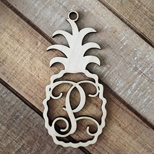 monogram pineapple christmas ornament laser cut natural wood christmas ornament personalized holiday ornament