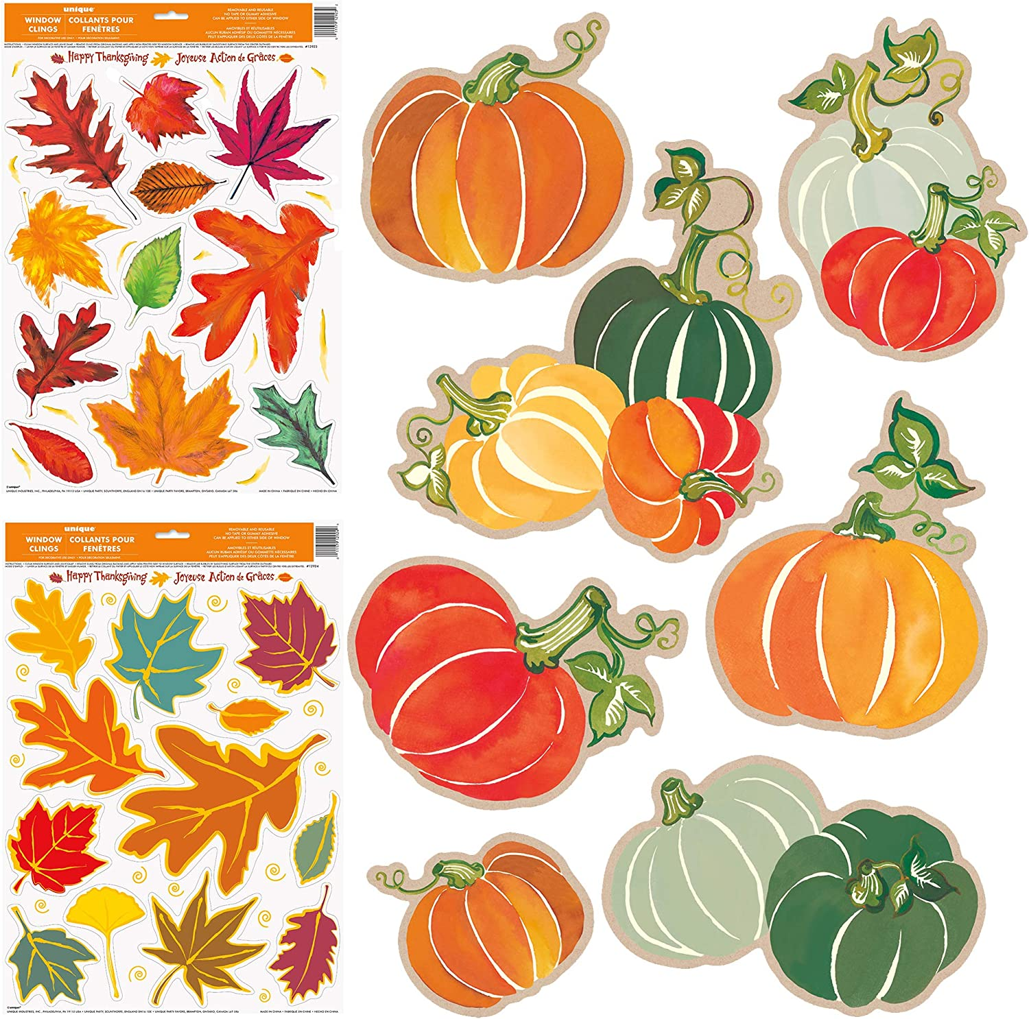 Unique Fall Window Clings Bundle | Leaves & Pumpkins | Fall House School Office Decorations