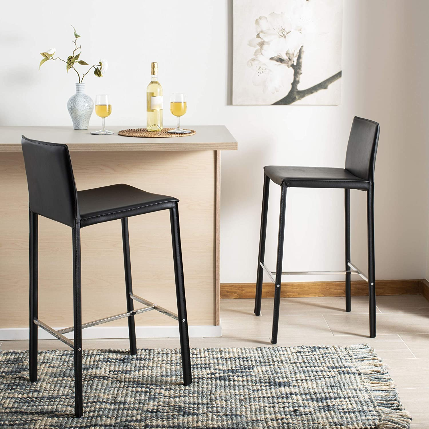 Safavieh Home Collection Jason Mid-Century Black Leather 30-inch Bar Stool Set of 2