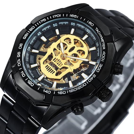 Callujo Moda Casual Negro Automático Mecánico Hombres Reloj de Pulsera de Acero Inoxidable Calavera Dorado Esqueleto Esfera Militar Relojes de Pulsera: ...