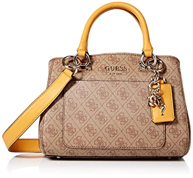 2a85e7c67eb Amazon.com: GUESS Kathryn Small Girlfriend Satchel, Brown/Multi, One ...