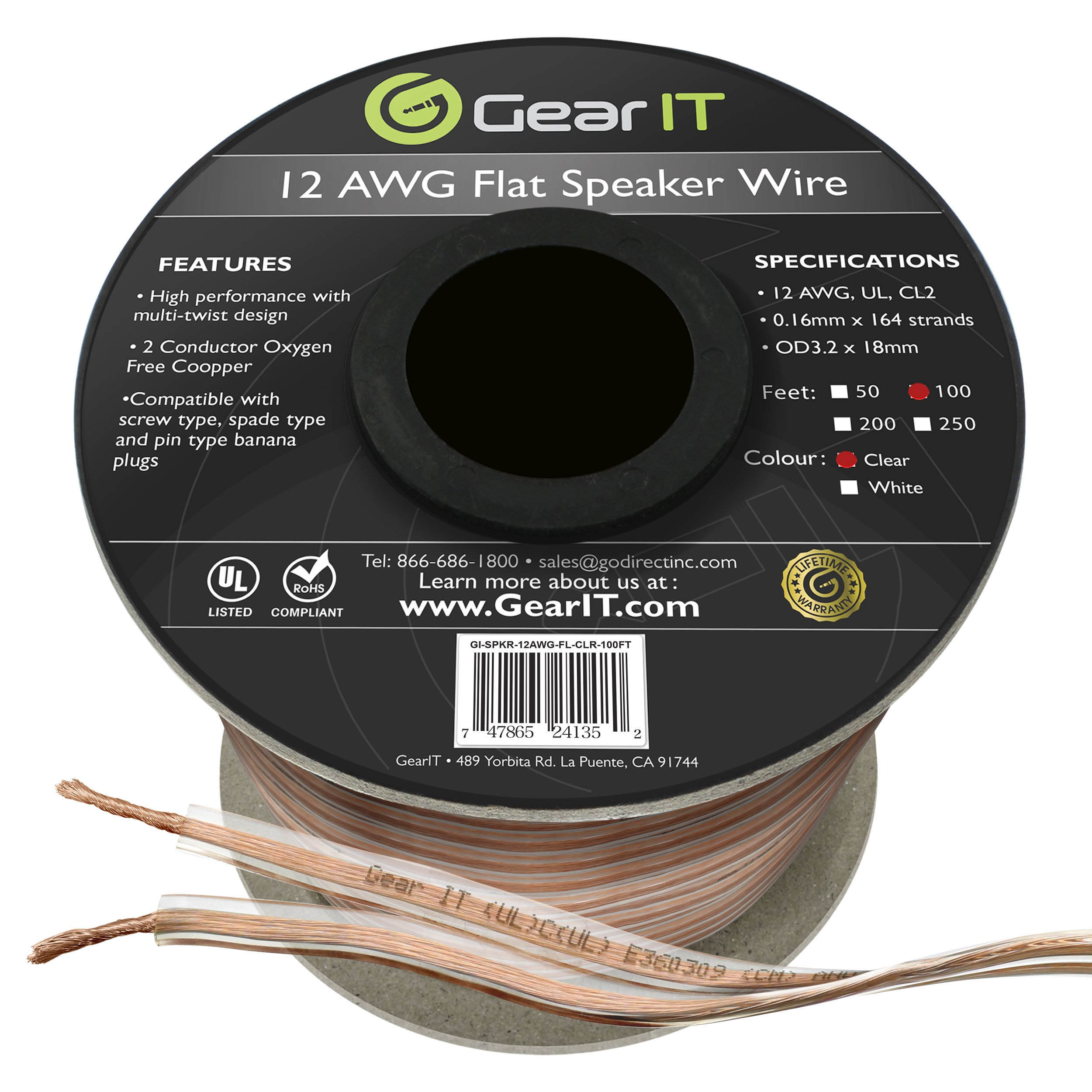 GearIT Elite Series 12AWG Flat Speaker Wire (100 Feet/30.4 Meters) - Oxygen Free Copper (OFC) CL2 Rated In-Wall Installation for Home Theater, Car Audio, and Outdoor Use, Clear by GearIT