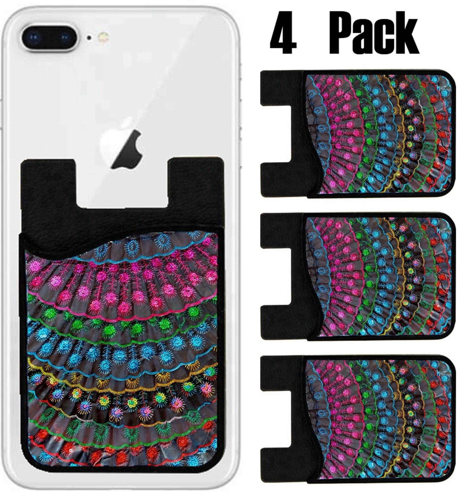 MSD Phone Card holder, sleeve/wallet for iPhone Samsung Android and all smartphones with removable microfiber screen cleaner Silicone card Caddy(4 Pack) IMAGE ID 34991524 Decorative Fans