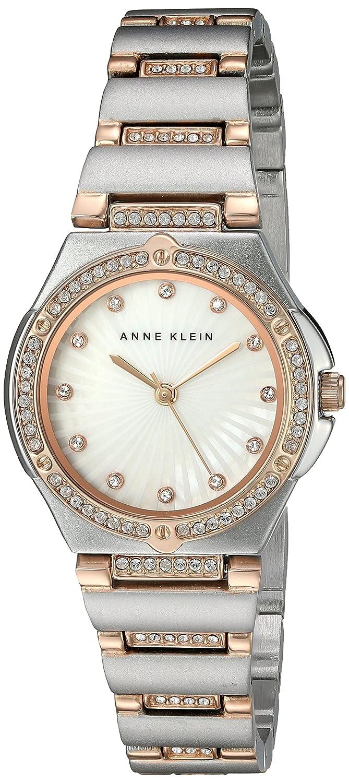 Anne Klein Damen Quarzuhr mit weißem Zifferblatt Analog-Anzeige und zweifarbigem Armband Legierung AK-n2417mprt