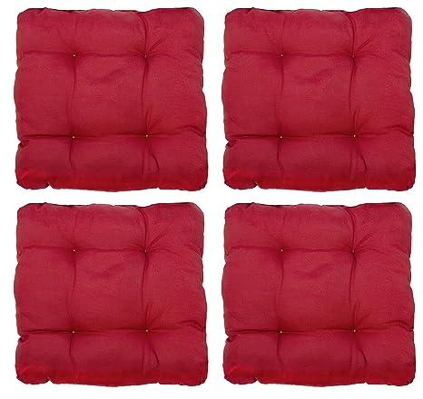 ZOLLNER 4 mullidos Cojines para Silla, 38x38x6 cm, Rojo, en Otros Colores