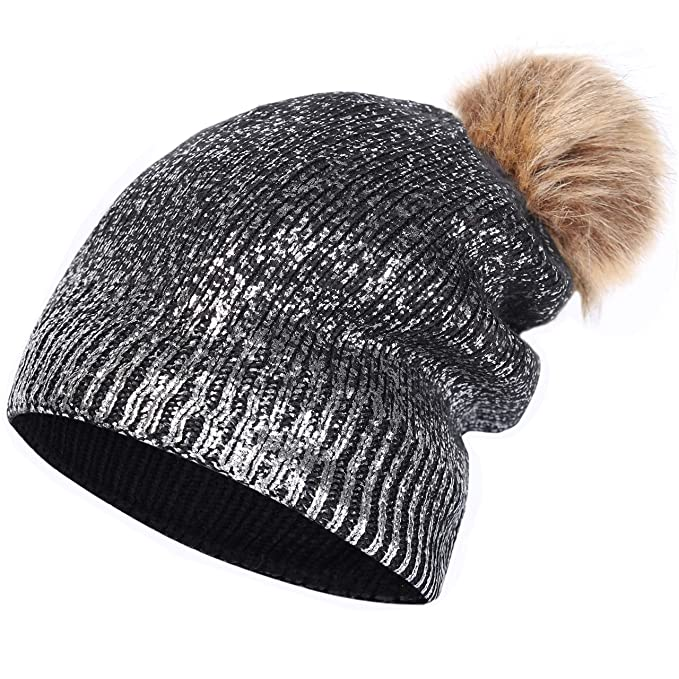 0fb14b03cf51b Jugofar Women Winter Pom Pom Knit Hats Metallic Shiny Party Thick Slouchy Beanie  Black Silver