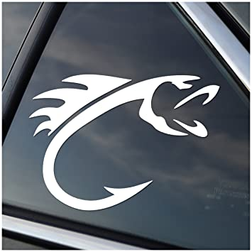 Amazoncom Fish Hook Vinyl Fishing Car Window Decal Sticker White - Vinyl window decals amazon