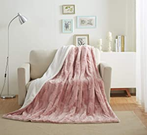 Tache 50x60 Faux Fur Blush Light Dusty Rose Gold Pink Super Soft Warm Throw Blanket