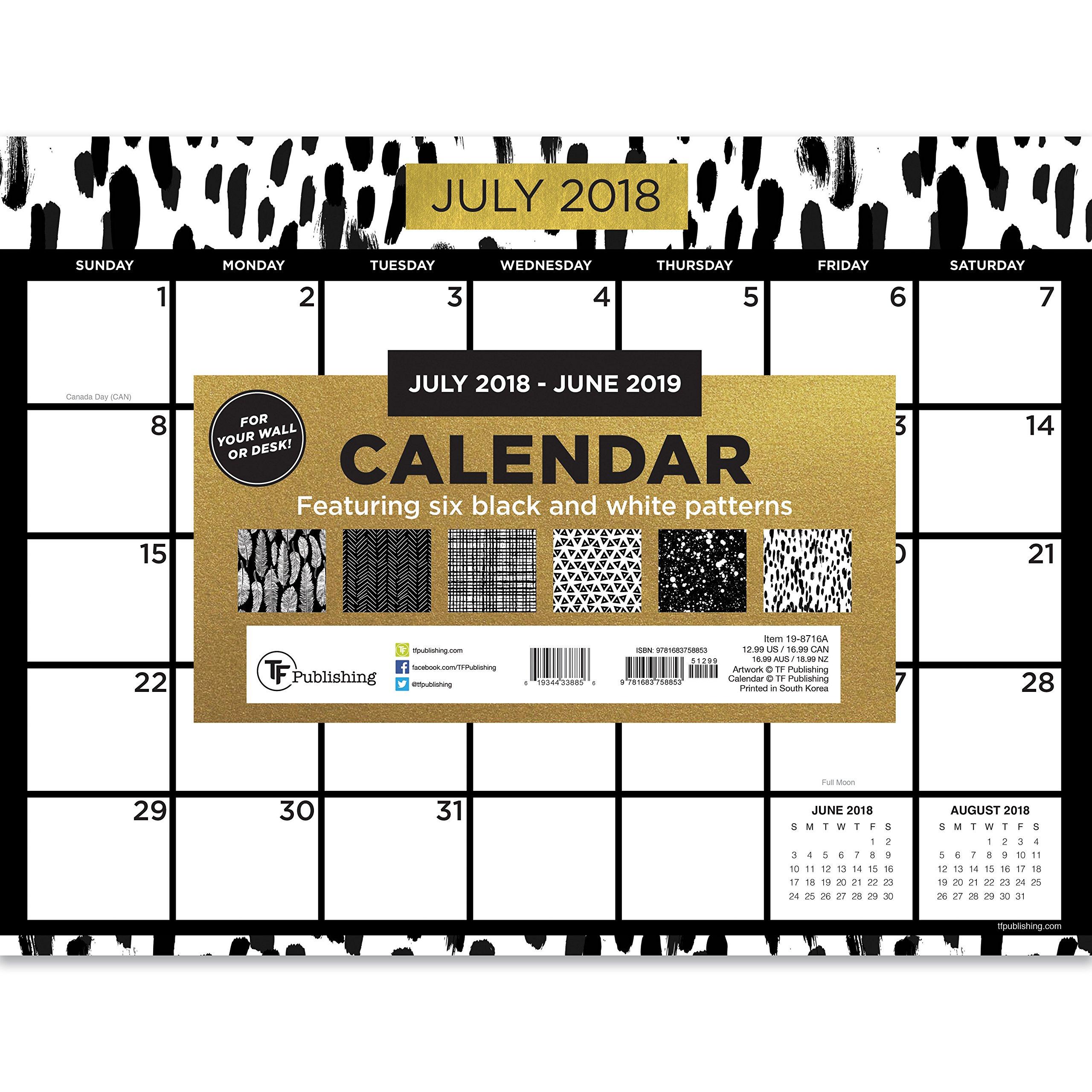 TF Publishing 19-8716A July 2018 - June 2019 Black White and Gold Mini Desk Pad Calendar, 12 x 9'', Black, White & Gold
