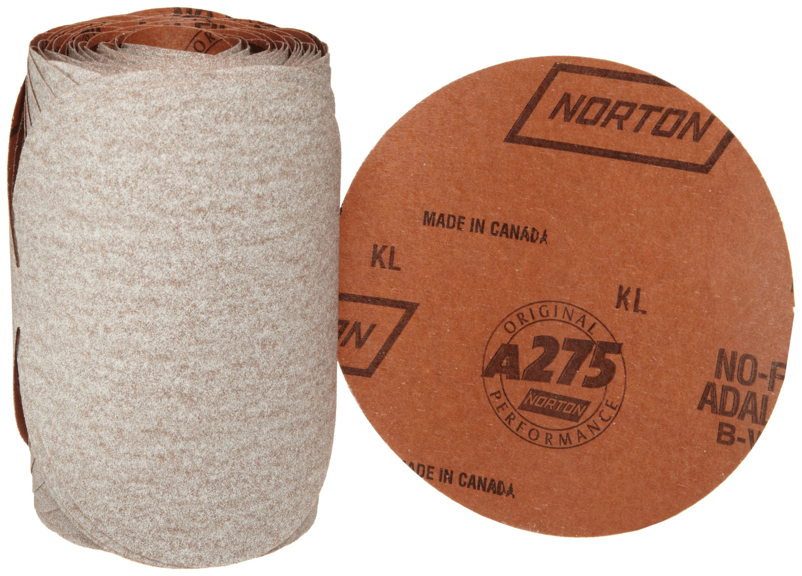 Norton A275 No-Fil Adalox Paper Abrasive Disc, Fiber Backing, Pressure-Sensitive Adhesive, Aluminium Oxide, 6'' Diameter, Grit 80 (Roll of 100)