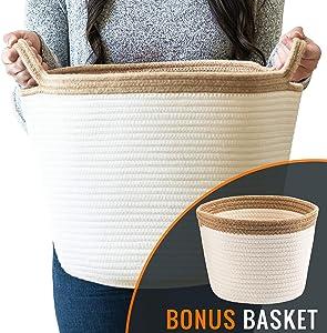 "Little Hippo 2pc Large Cotton Rope Basket (15""x13"") 100% Natural Cotton! Rope Basket, Woven Storage Basket, Large Basket, Blanket Basket Living Room, Toy Basket, Pillow Basket, Round Basket"