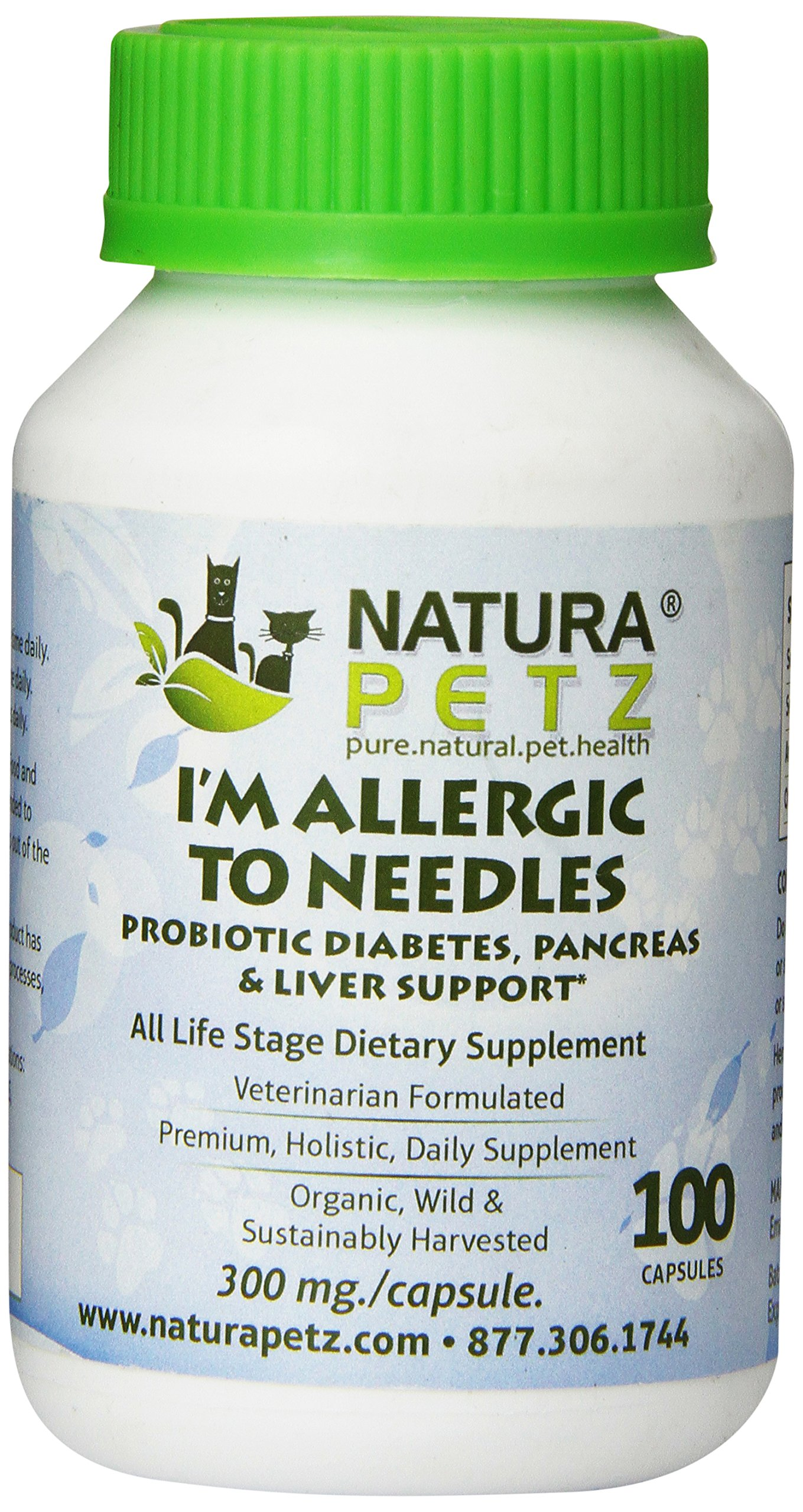 Natura Petz I'm Allergic to Needles Probiotic Diabetes, Pancreas, Liver and Insulin Resistance Support for Pets, 100 Capsules, 300mg Per Capsule