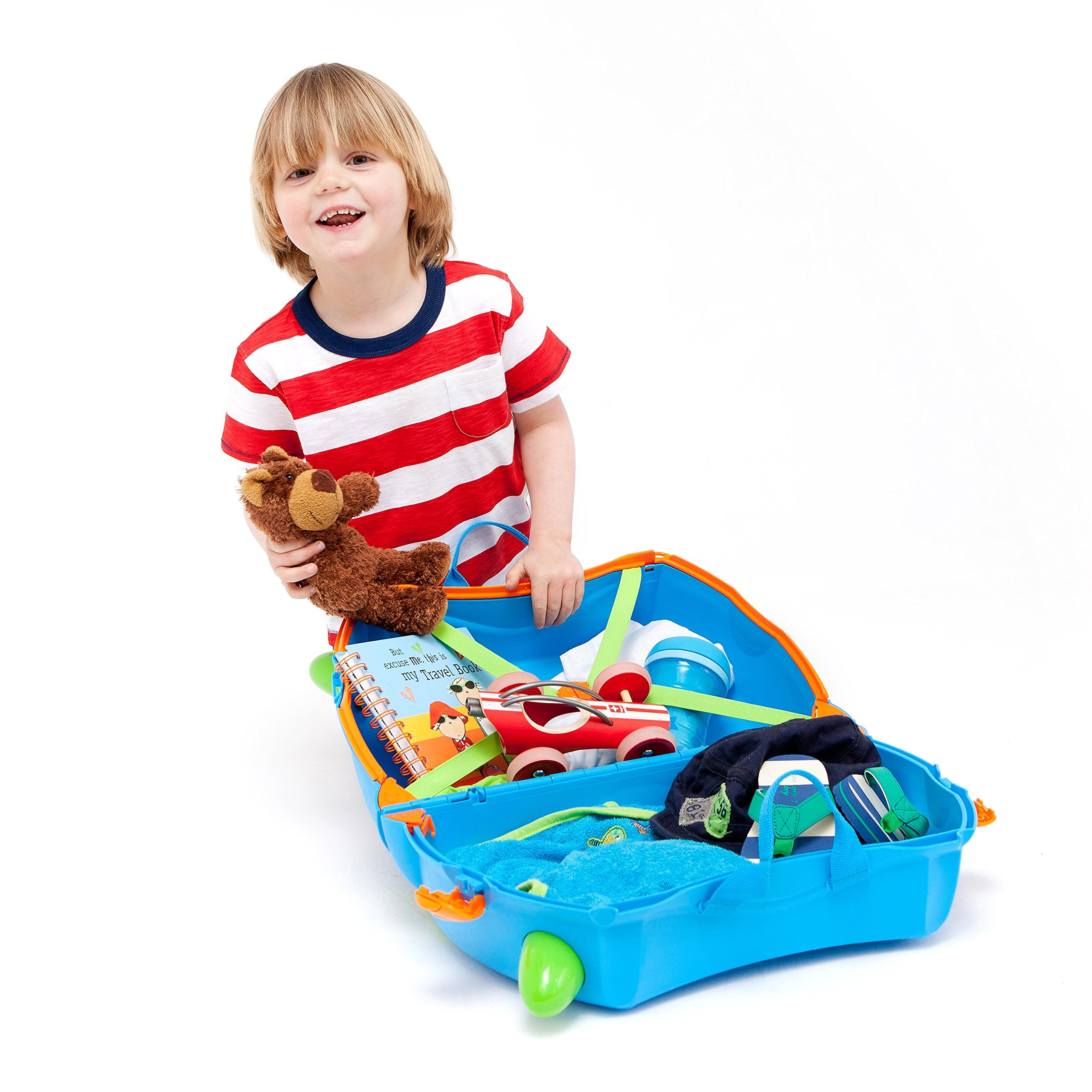 Trunki Original Kids Ride-On Suitcase and Carry-On - Terrance (Blue) by Trunki (Image #4)