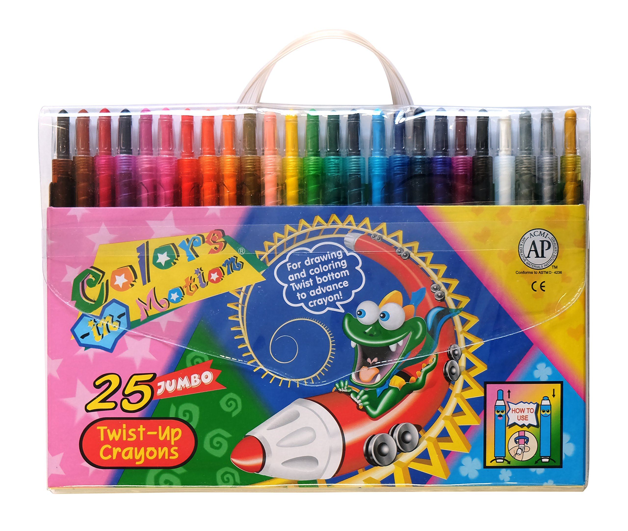 25 Colors-in-Motion Twist-up Crayons, Colored Pencils, Kids Crayon, Adult Coloring, Professional Drawing (7 in length)