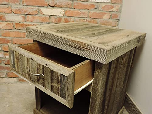 Reclaimed Wood Farmhouse Style Night Stand, Rustic Barnwood Bedroom Furniture Sets, Night Tables with Drawers, Cool Unique Solid Wood Western Nightstands. AllBarnWood
