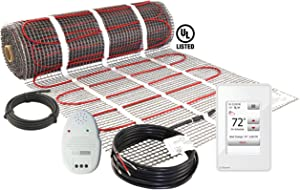 LuxHeat 70 Sqft Mat Kit (120v) Electric Radiant Floor heating System for Under Tile & Laminate. Underfloor Heating Kit Includes Heat Mat, Alarm & OJ Microline WiFi Programmable Thermostat with GFCI