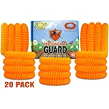 Mosquito Guard KIDS Repellent Bracelets / Bug Bands ( 20 Individually Packaged ) 100% All Natural, Geraniol, Citronella, Lemongrass Oil, Non Toxic and DEET FREE. Bug and Insect Repellent