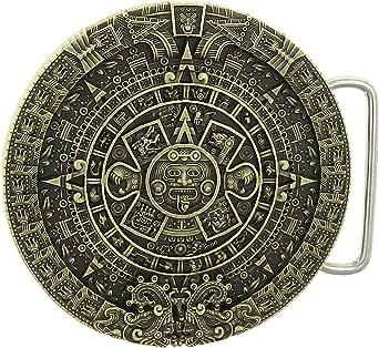 YONE Mayan Aztec Calendar Belt Buckle G/ürtelschnallen