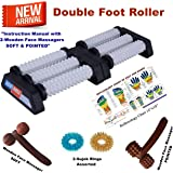 Super India Store Acupressure Double Foot Roller (Pyramids & Spiked) With Sujok Rings + 2 Wooden Face/Head Massagers-Soft & Pointed