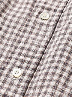 Short Sleeve Cotton Linen Check Buttondown Shirt 11-01-0873-139: Orange