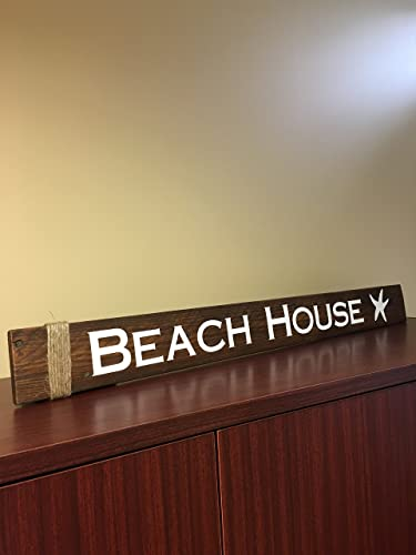 Amazon.com: Beach House Reclaimed Wood Sign - With Starfish and ...