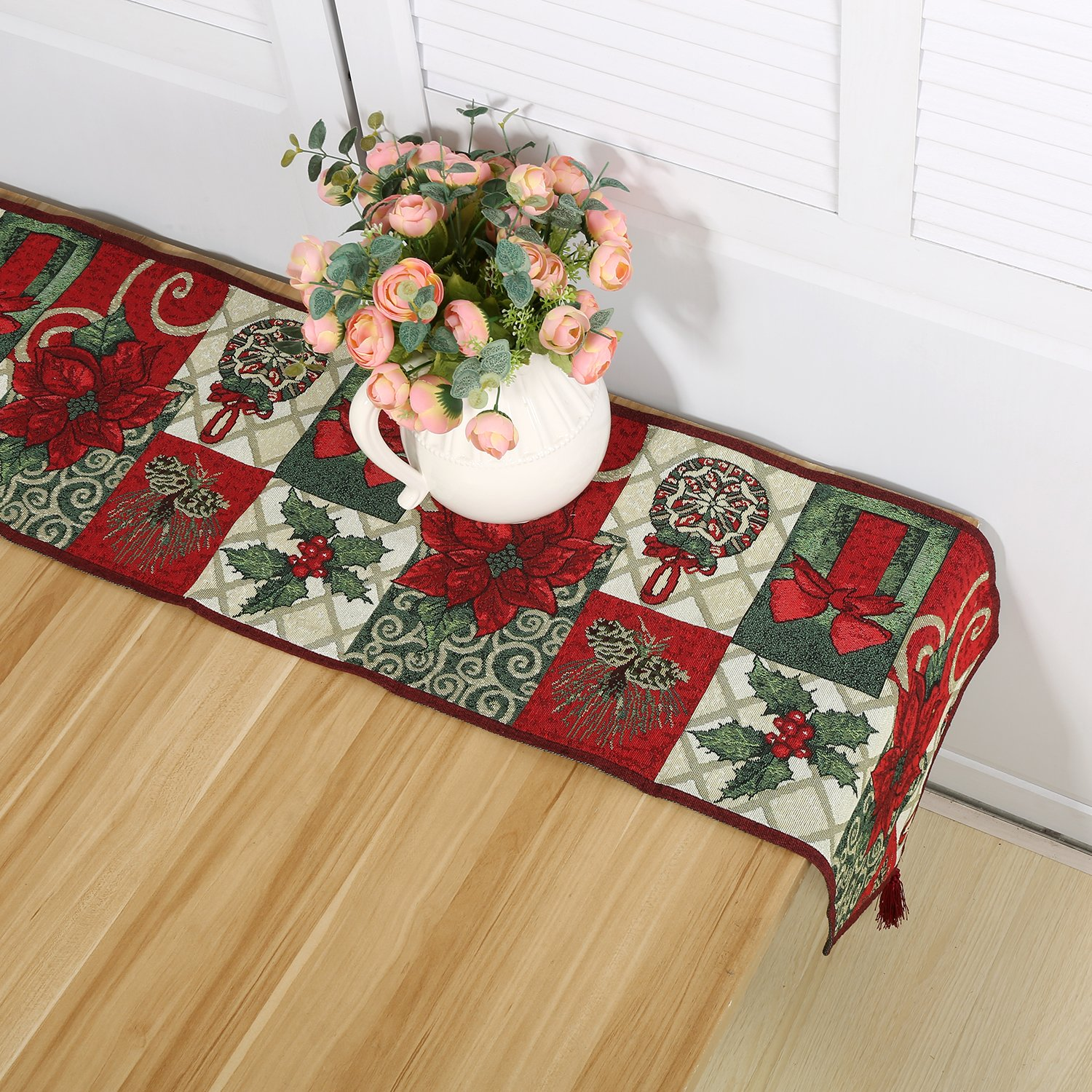 Meiduoduo Christmas Decorative Table Runner 13 x 71inch Red Poinsettia Christmas Flower Soft Table Cloth Home Wedding Party Table Decor 1 Table Runner