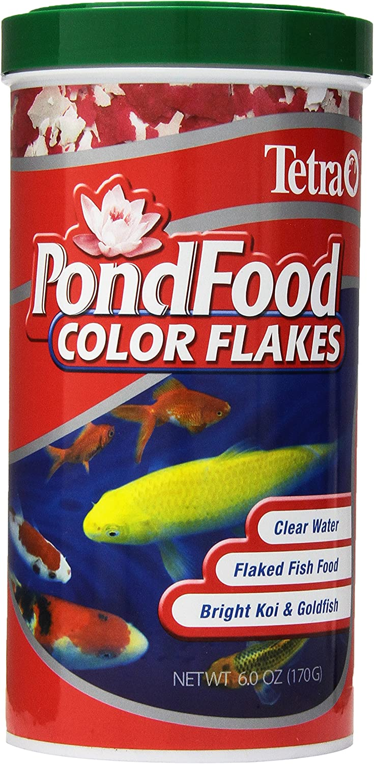 Tetra Pond Food, Flaked Color Fish Food, 6-Ounce, 1-Liter, (77021)