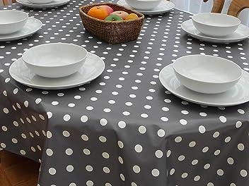 Nappe rectangulaire en PVC//vinyle de 139,7/x 198,1/cm /à pois couleur champagne avec trou pour parasol