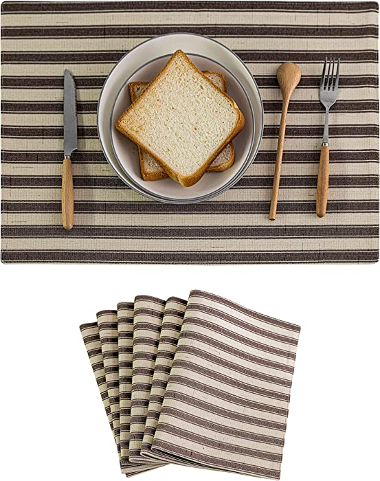 Home Brilliant Placemats Set of 6 Heat Resistant Dining Table Place Mats for Kitchen Table Farmhouse Style, 13 x 19 inches, Stripes, Brown and Cream