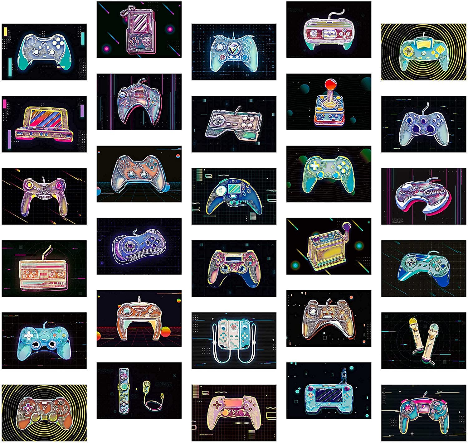30PCS Retro Video Game Art Prints (6x4)   Mini Gamer Posters for Boys Room and Man Cave Decor   Game Room Decor by Vibes and Vistas
