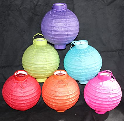 6 Battery Operated Assorted Color Chinesejapanese Paper Lanterns 8