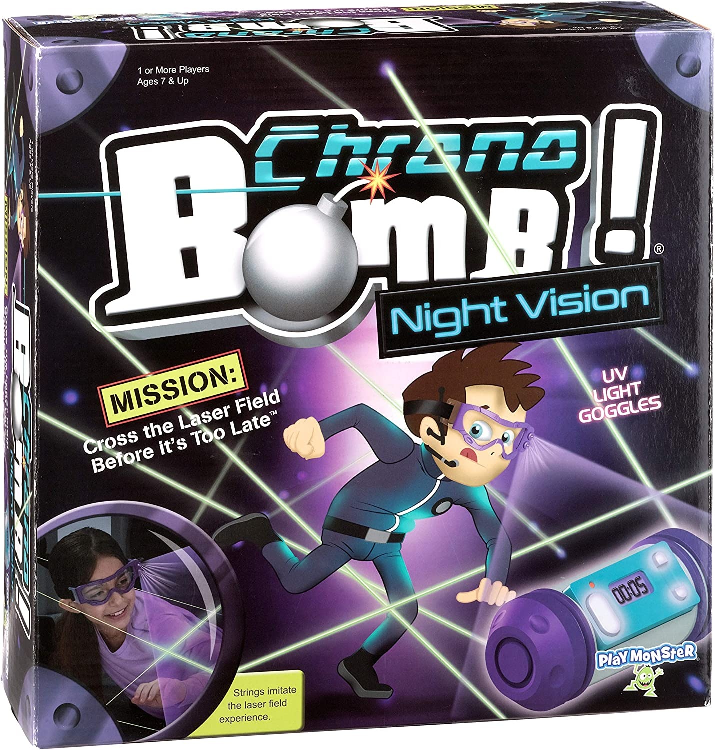 Amazon Com Playmonster Chrono Bomb Night Vision Secret Agent Maze Game Play During The Day Or In The Dark Toys Games