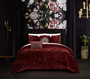 Chic Home Alianna 5 Piece Comforter Set Crinkle Crushed Velvet Bedding - Decorative Pillow Shams Included, Queen, Burgundy
