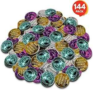 "ArtCreativity Colorful Coin Collection - Pack of 144 - Smile Face on One Side and Inscription Reading ""I was Caught Being Good"" on Other Side - Ideal School Reward and Prize from Mom to Kids Ages 3+"