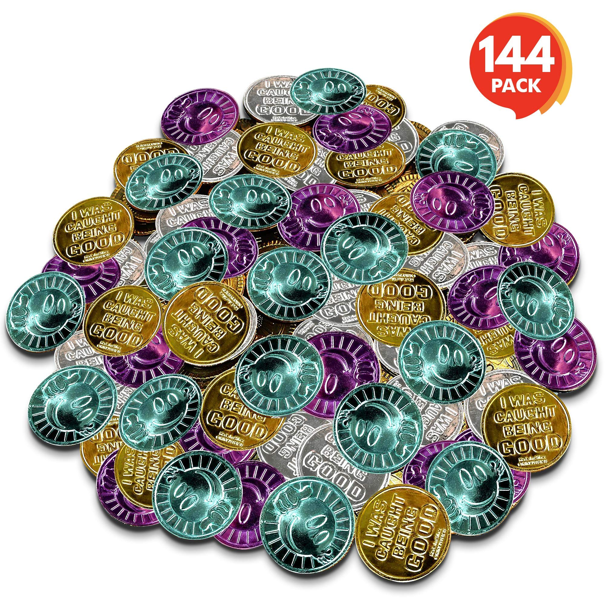 ArtCreativity Colorful Coin Collection - Pack of 144 - Smiley Face on One Side and Inscription Reading ''I was Caught Being Good'' on Other Side - Ideal School Reward and Prize from Mom to Kids Ages 3+ by ArtCreativity