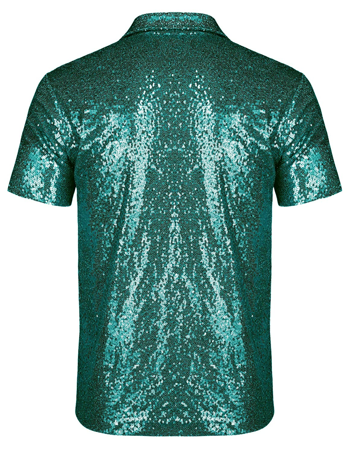URRU Mens Relaxed Short Sleeve Turndown Sparkle Sequins Polo Shirts 70s Disco Nightclub Party T-Shirts Tops S-XXL