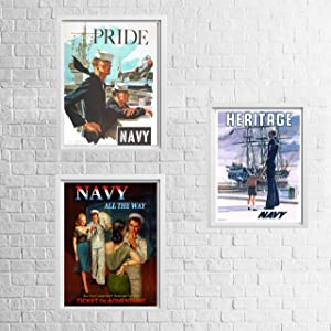 """Vintage Navy Recruitment Poster Set-""""Pride-Heritage-Adventure""""(3)- 8 x 10""""s Wall Art Prints- Ready To Frame- WWII Retro Navy Slogans-Replica Poster Prints. Home-Office Decor. Historical Military Decor"""