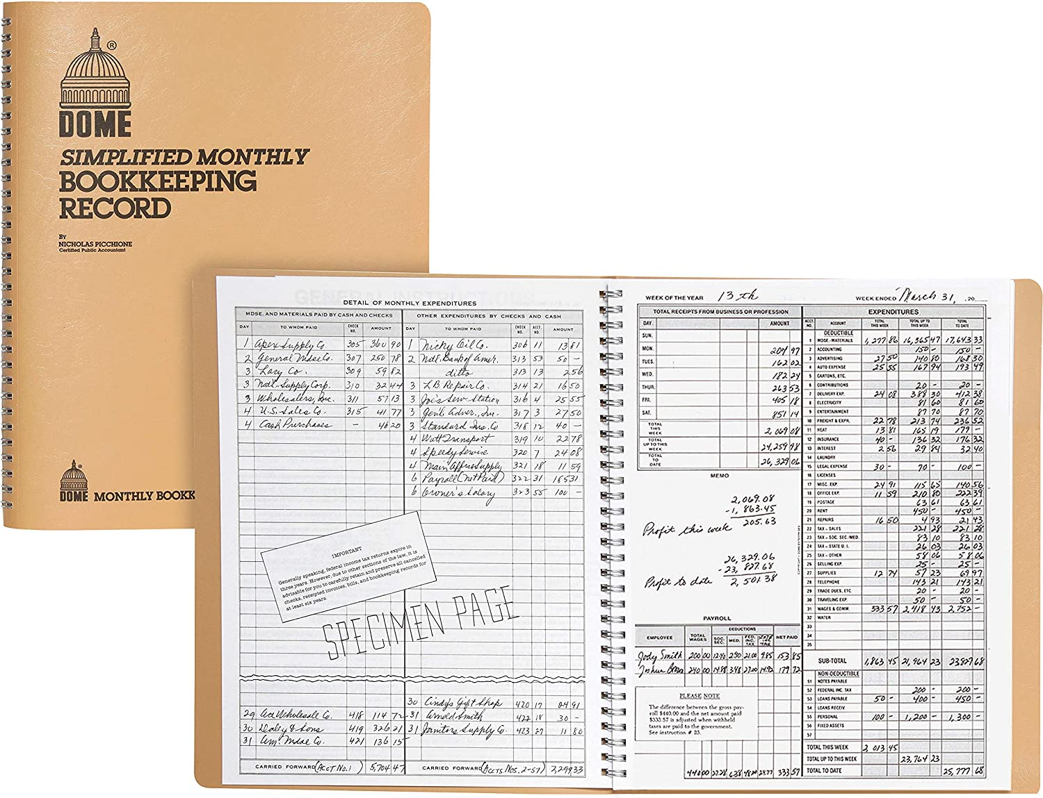 2 Pack Simplified Monthly Bookkeeping Record 128 Pages 8 1//2 x 11 Tan Vinyl Cover