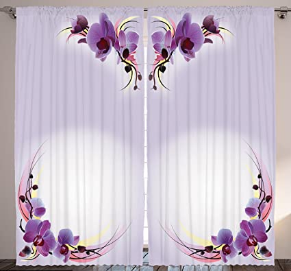 Amazon ambesonne bedroom curtains nature home decor orchid ambesonne bedroom curtains nature home decor orchid flowers theme creative design art print bedroom mightylinksfo