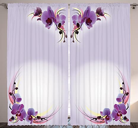 Ambesonne Bedroom Curtains Nature Home Decor, Orchid Flowers Theme Creative  Design Art Print, Bedroom