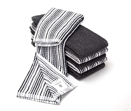 6 Pack Large Kitchen Towel Set 16 X 26 3 Popcorn Stripe Design 3 Solid Color Grey Yarn Dyed Cotton Hand Towels Coordinating Tea Towel