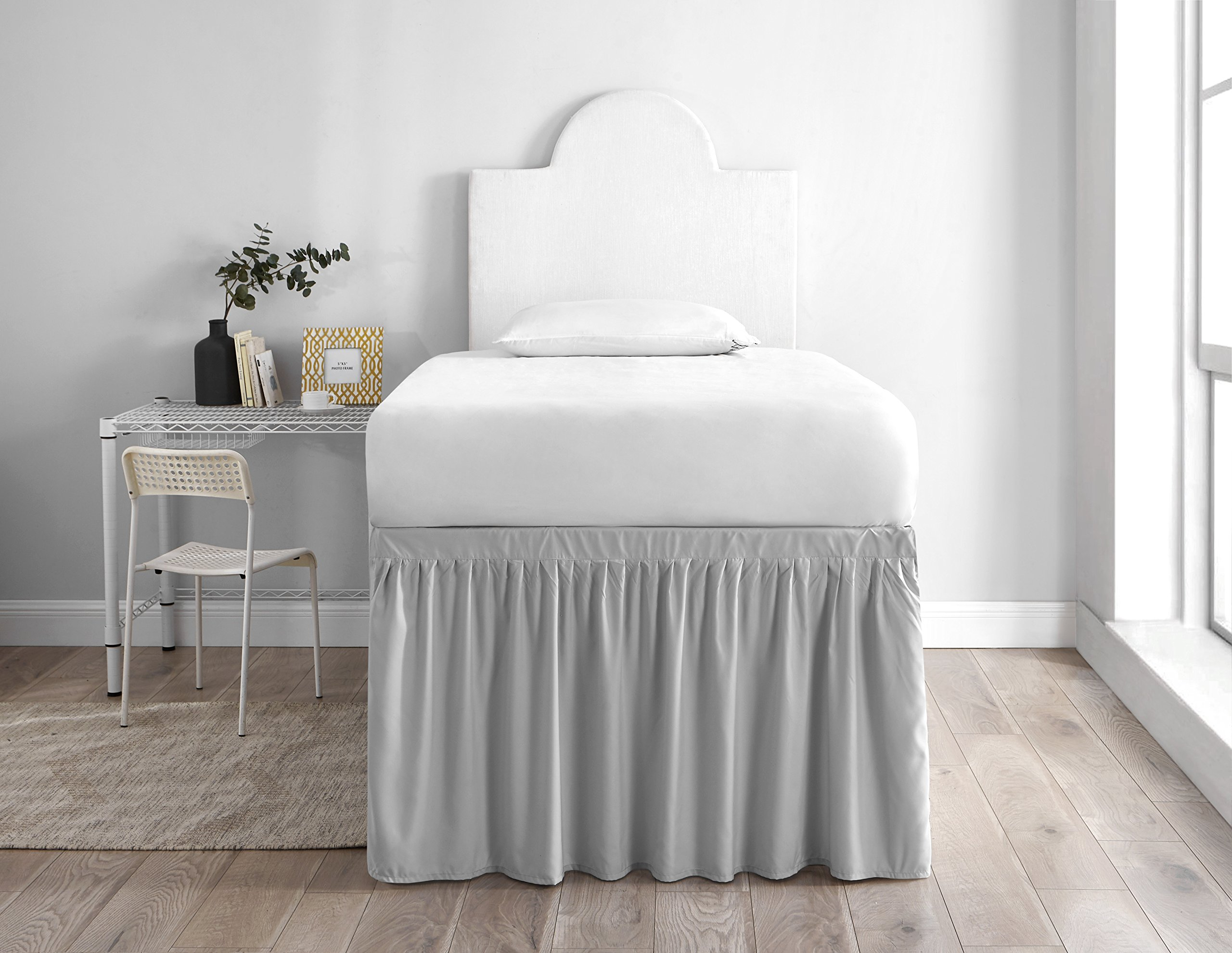 Dorm Sized Bed Skirt Panel with Ties (1 Panel) - Glacier Gray