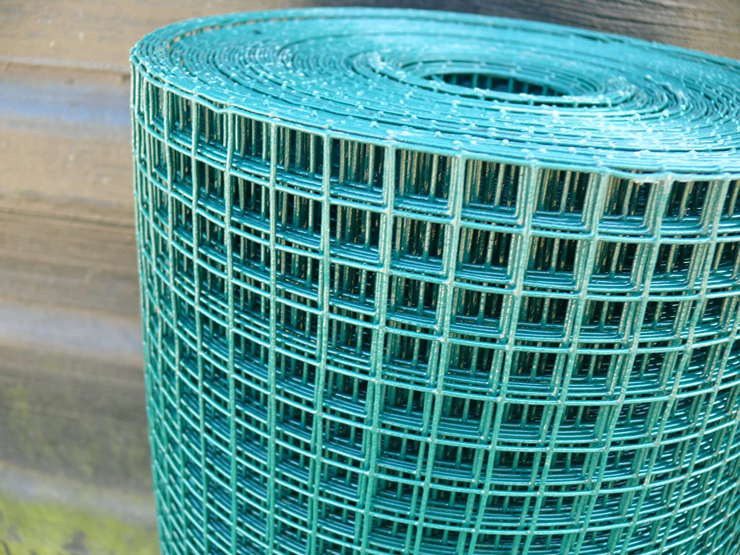 0.6mx25m Welded Steel Wire(13mm square mesh),Green Plastic Coated ...