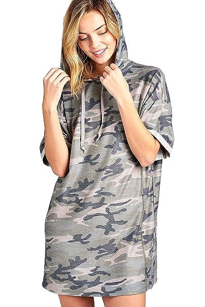 b930cc925f507 Khanomak Women's Short Sleeve Hooded Oversized Casual All Over Camo Tshirt  Dress: Amazon.ca: Clothing & Accessories