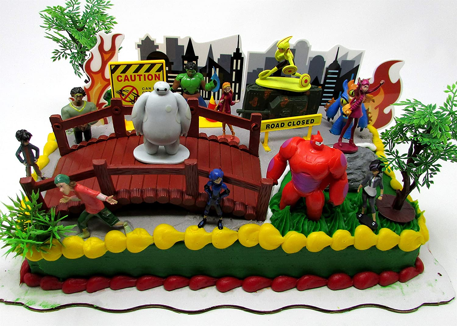 Big Hero 6 Birthday Cake Topper 26 Piece Set Featuring Hiro Hamada Baymax Go Tomago Honey Lemon Wasabi And Fred Super Characters