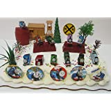 Thomas the Train Birthday Cake Topper Set Featuring Thomas, Hiro, James, Percy, Belle, Spencer and Other Thomas the Train Engines with Decorative Themed Pieces