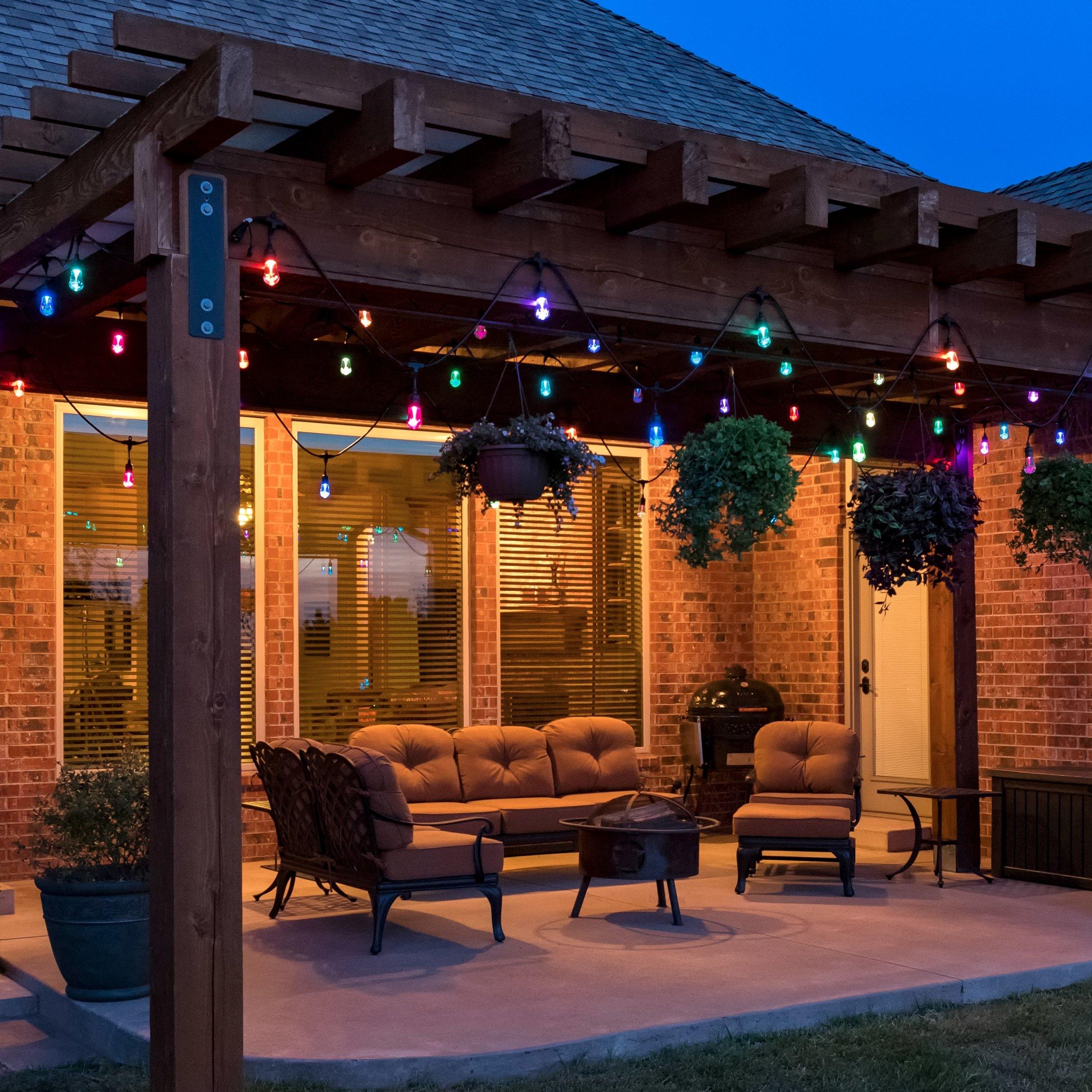 Enbrighten 37790 Vintage Seasons LED Warm White & Color Changing Café String Lights, Black, 48ft, 24 Premium Impact Resistant Lifetime Bulbs, Wireless, Weatherproof, Indoor/Outdoor, 48 ft, by Enbrighten (Image #4)