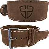 """Weight Lifting Belt by Steel Sweat - 4"""" Wide by 10mm Thick - Single Prong Heavy Duty Adjustable Powerlifting Belt with Vegetable Tanned Leather - Brown HYDE"""