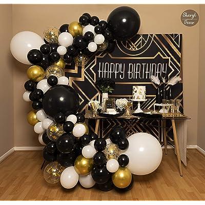 baby shower decor Balloon garland gold black nye balloon arch garland hanging balloon graduation New Years balloon arch